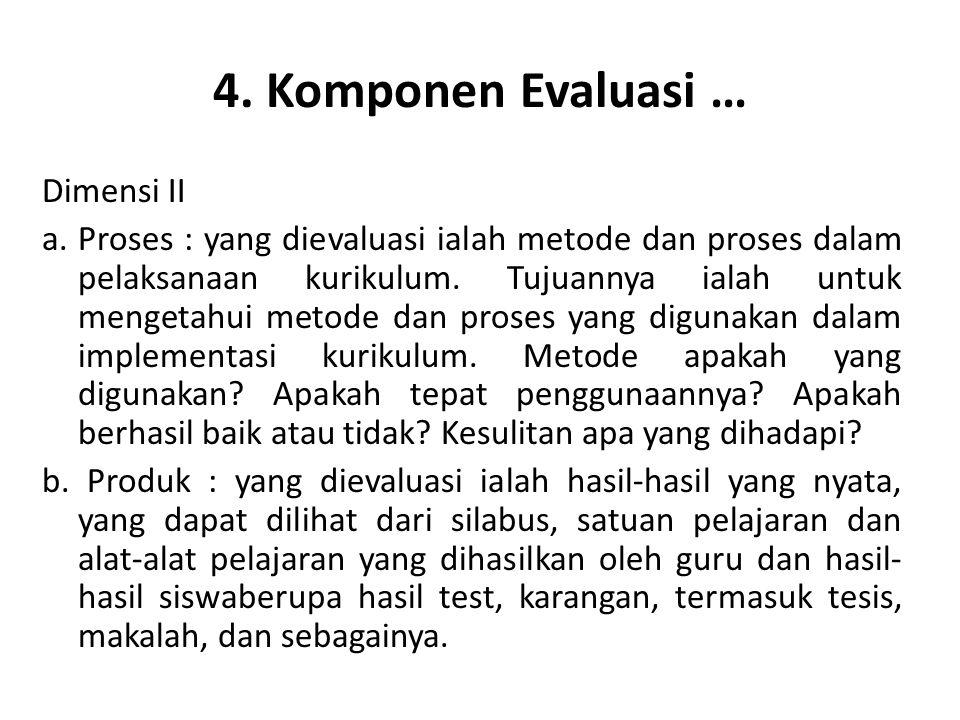 4.Komponen Evaluasi … Dimensi III a.