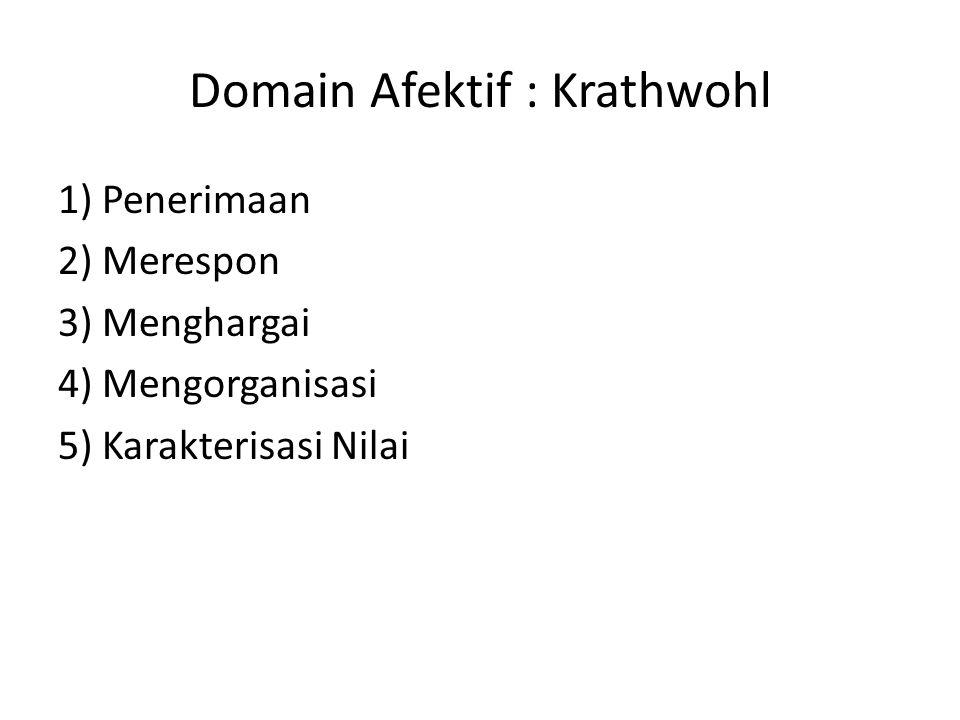 Domain Psikomotor 1) Persepsi ( Perception ) 2) Kesiapan ( Set ) 3) Meniru ( Imitation ) 4) Membiasakan ( habitual ) 5) Menyesuaikan ( Adaptation ) 6) Menciptakan ( Organization )