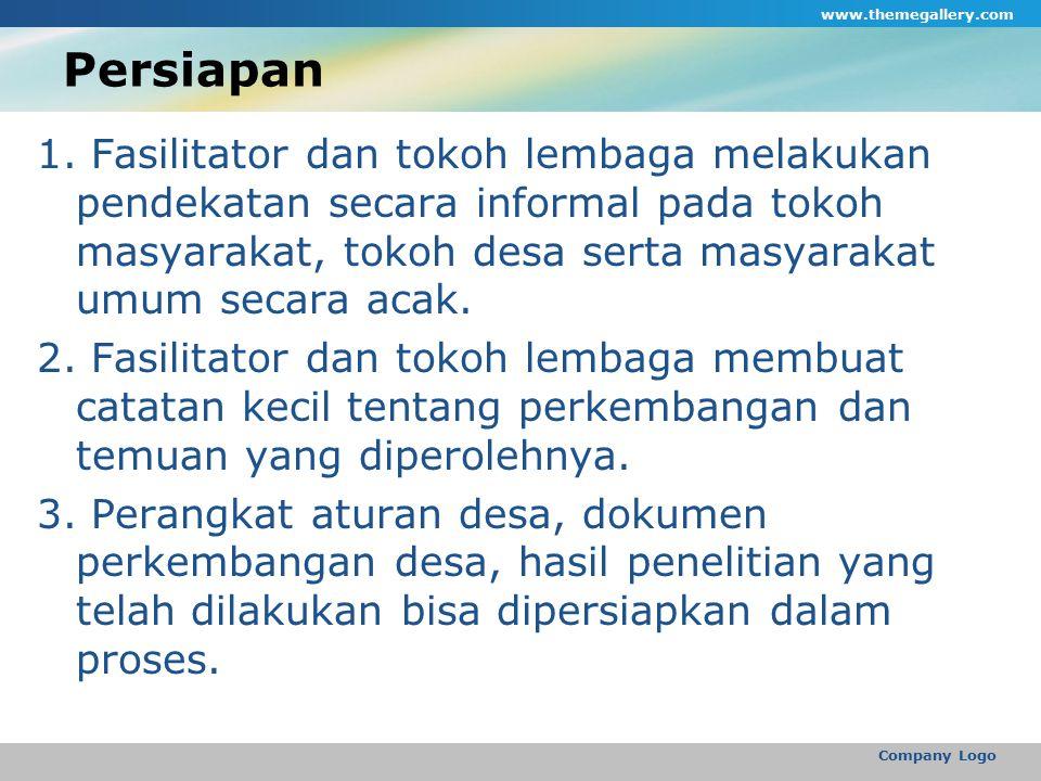 Persiapan 1. Fasilitator dan tokoh lembaga melakukan pendekatan secara informal pada tokoh masyarakat, tokoh desa serta masyarakat umum secara acak. 2