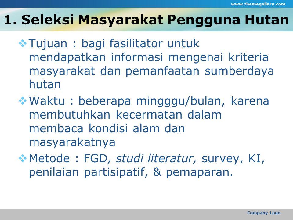 1. Seleksi Masyarakat Pengguna Hutan  Tujuan : bagi fasilitator untuk mendapatkan informasi mengenai kriteria masyarakat dan pemanfaatan sumberdaya h