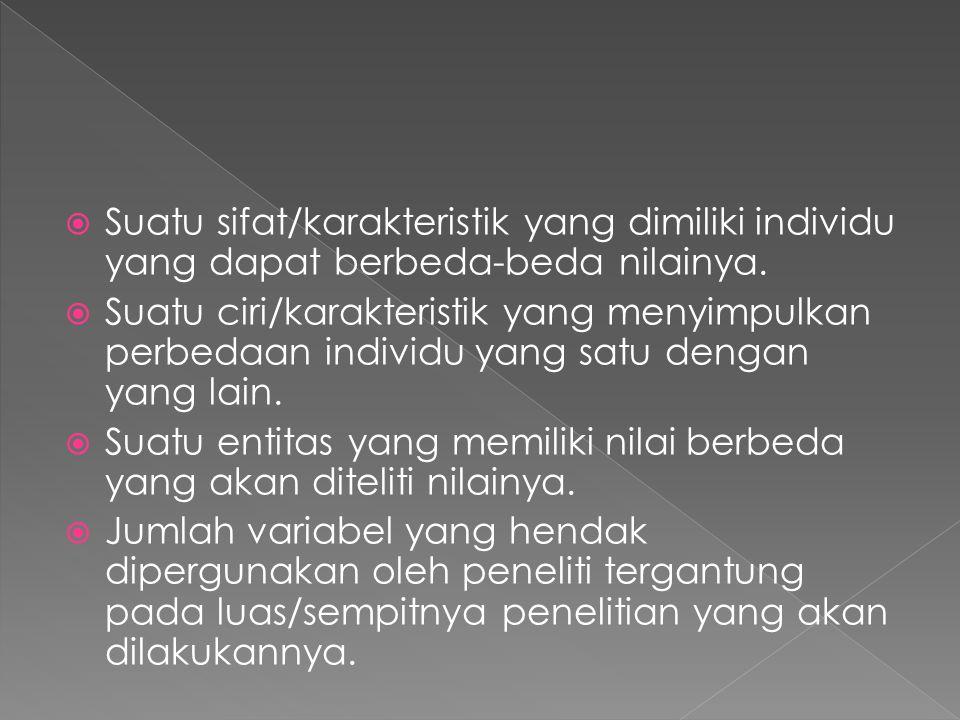  Suatu sifat/karakteristik yang dimiliki individu yang dapat berbeda-beda nilainya.  Suatu ciri/karakteristik yang menyimpulkan perbedaan individu y