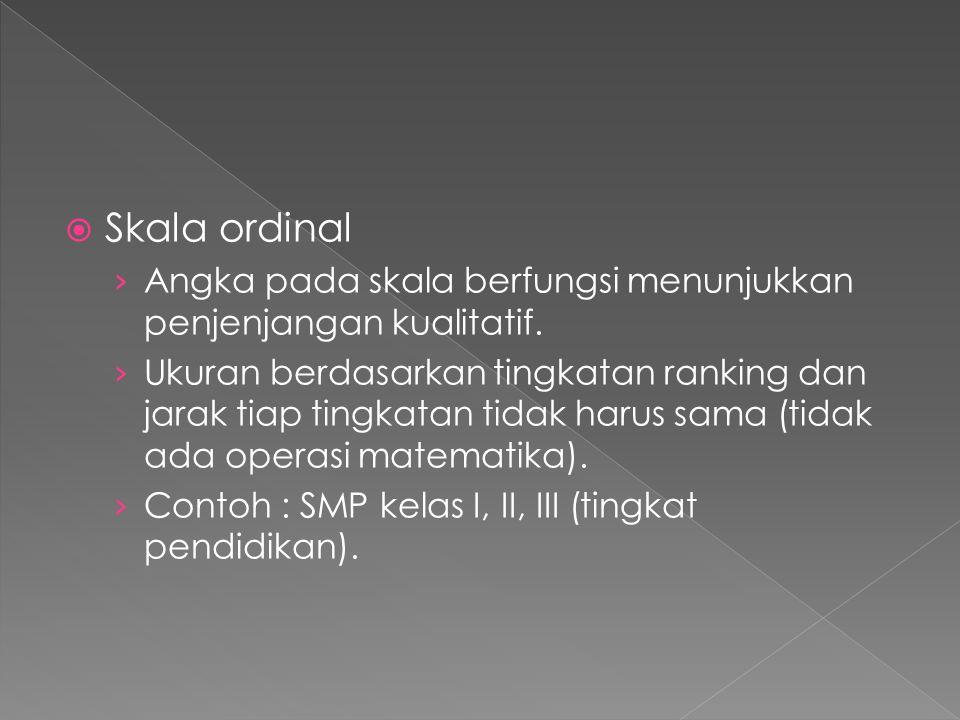  Skala ordinal › Angka pada skala berfungsi menunjukkan penjenjangan kualitatif. › Ukuran berdasarkan tingkatan ranking dan jarak tiap tingkatan tida