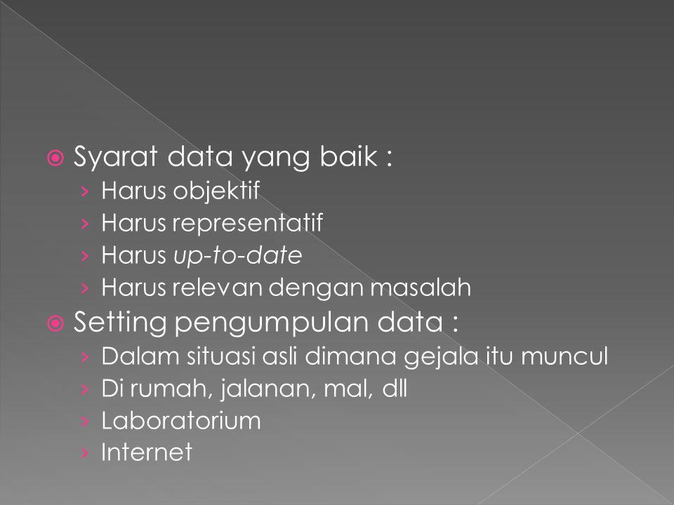  Syarat data yang baik : › Harus objektif › Harus representatif › Harus up-to-date › Harus relevan dengan masalah  Setting pengumpulan data : › Dala