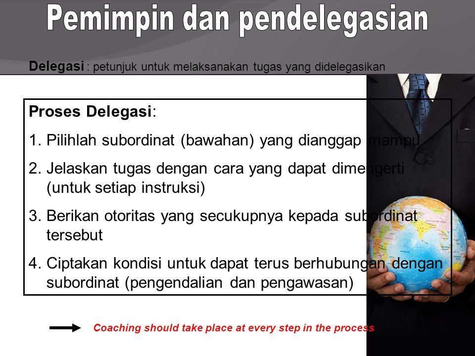 Delegasi : petunjuk untuk melaksanakan tugas yang didelegasikan Proses Delegasi: 1.Pilihlah subordinat (bawahan) yang dianggap mampu 2.Jelaskan tugas dengan cara yang dapat dimengerti (untuk setiap instruksi) 3.Berikan otoritas yang secukupnya kepada subordinat tersebut 4.Ciptakan kondisi untuk dapat terus berhubungan dengan subordinat (pengendalian dan pengawasan) Coaching should take place at every step in the process