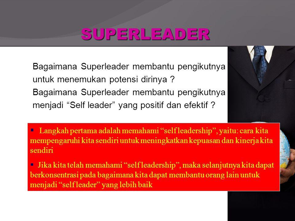 """SUPERLEADER Bagaimana Superleader membantu pengikutnya untuk menemukan potensi dirinya ? Bagaimana Superleader membantu pengikutnya menjadi """"Self lead"""