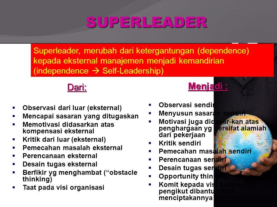 SUPERLEADER Dari:  Observasi dari luar (eksternal)  Mencapai sasaran yang ditugaskan  Memotivasi didasarkan atas kompensasi eksternal  Kritik dari