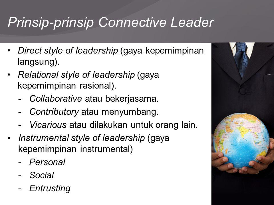 Prinsip-prinsip Connective Leader Direct style of leadership (gaya kepemimpinan langsung). Relational style of leadership (gaya kepemimpinan rasional)
