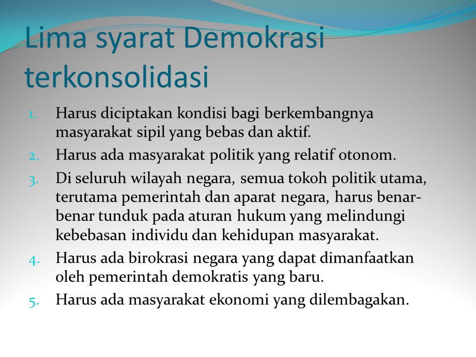 Lima syarat Demokrasi terkonsolidasi 1.