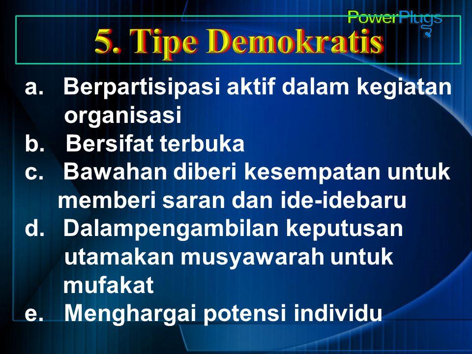 a.Berpartisipasi aktif dalam kegiatan organisasi b. Bersifat terbuka c.Bawahan diberi kesempatan untuk memberi saran dan ide-idebaru d.Dalampengambila