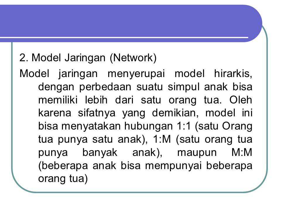 2. Model Jaringan (Network) Model jaringan menyerupai model hirarkis, dengan perbedaan suatu simpul anak bisa memiliki lebih dari satu orang tua. Oleh