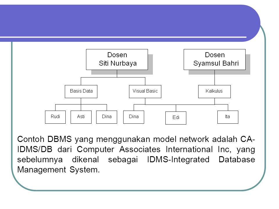 Contoh DBMS yang menggunakan model network adalah CA- IDMS/DB dari Computer Associates International Inc, yang sebelumnya dikenal sebagai IDMS-Integra