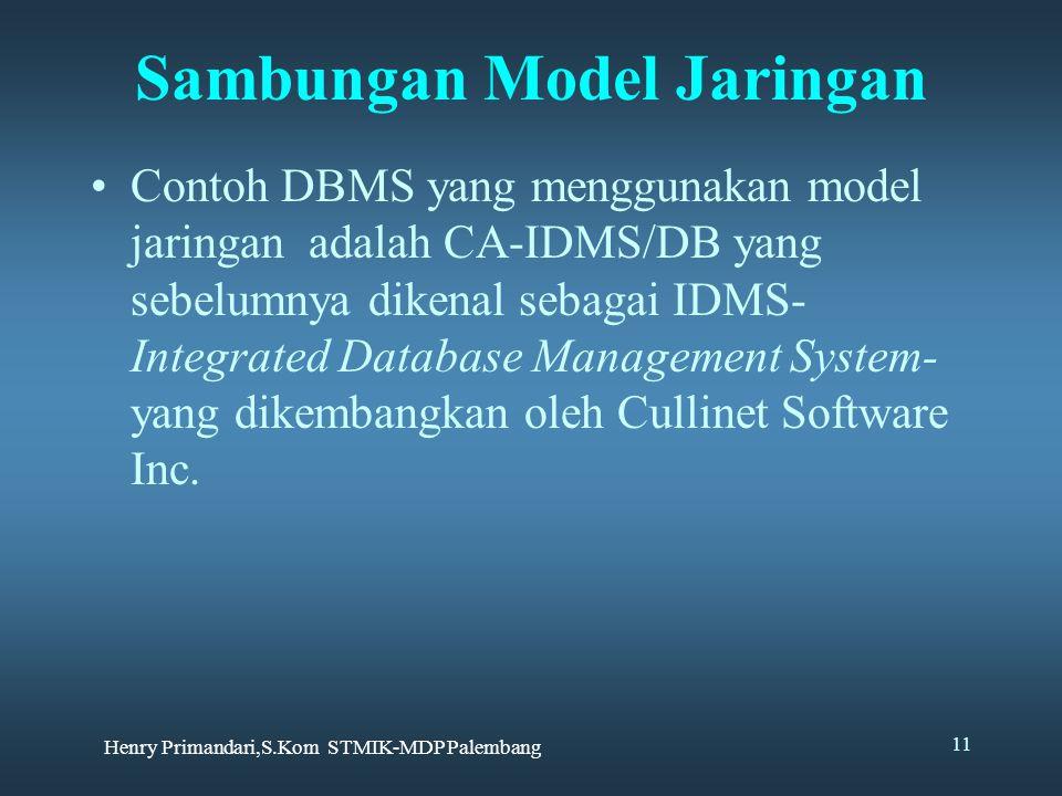 Henry Primandari,S.Kom STMIK-MDP Palembang 11 Sambungan Model Jaringan Contoh DBMS yang menggunakan model jaringan adalah CA-IDMS/DB yang sebelumnya dikenal sebagai IDMS- Integrated Database Management System- yang dikembangkan oleh Cullinet Software Inc.