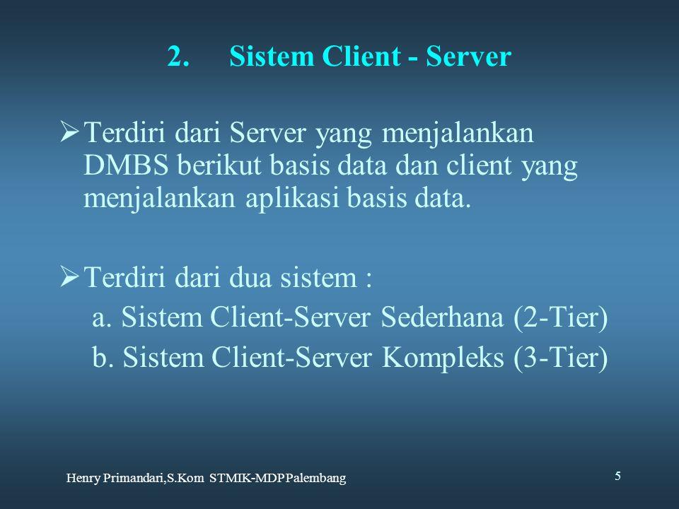 Henry Primandari,S.Kom STMIK-MDP Palembang 5  Terdiri dari Server yang menjalankan DMBS berikut basis data dan client yang menjalankan aplikasi basis data.