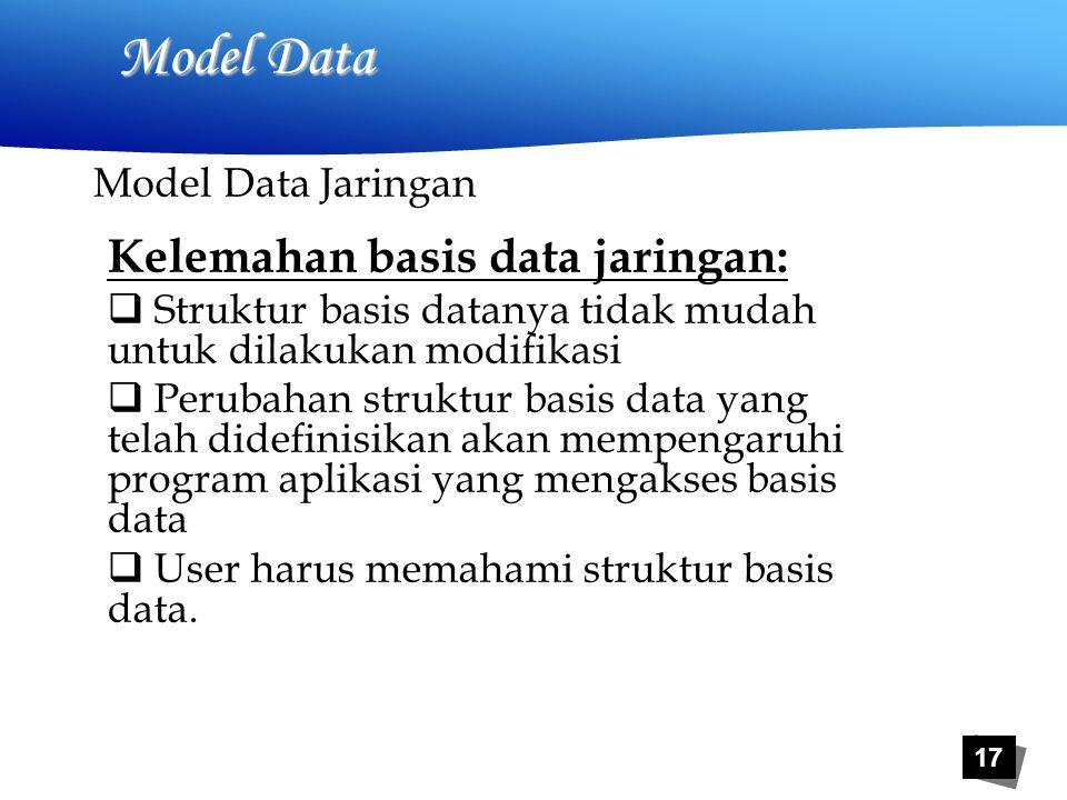 17 Model Data Kelemahan basis data jaringan:  Struktur basis datanya tidak mudah untuk dilakukan modifikasi  Perubahan struktur basis data yang telah didefinisikan akan mempengaruhi program aplikasi yang mengakses basis data  User harus memahami struktur basis data.