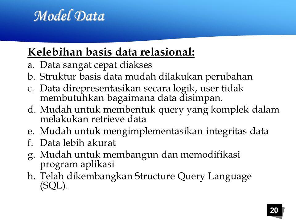 20 Model Data Kelebihan basis data relasional: a.Data sangat cepat diakses b.Struktur basis data mudah dilakukan perubahan c.Data direpresentasikan secara logik, user tidak membutuhkan bagaimana data disimpan.
