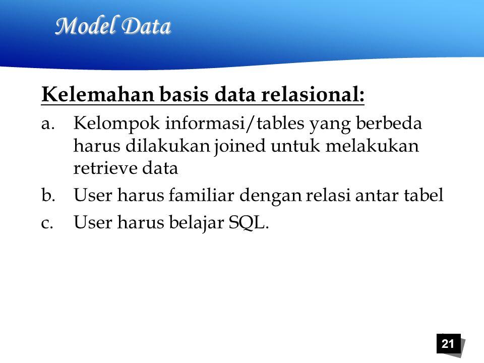 21 Model Data Kelemahan basis data relasional: a.Kelompok informasi/tables yang berbeda harus dilakukan joined untuk melakukan retrieve data b.User harus familiar dengan relasi antar tabel c.User harus belajar SQL.