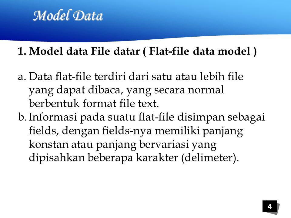 5 Model Data Contoh 1, Flat-file Model Data 1234567890123456789012345678901234567890123 0123MulyonoProgdi TI-S1 1234ArifinProgdi TI-S1 2345Tyas Catur P.Progdi TI-S1 3456Ifan RiskaProgdi TI-S1 4567Ayu PertiwiProgdi TI-S1 Model data flat-file dengan panjang fields-nya konstan.