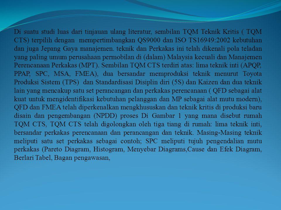 Di suatu studi luas dari tinjauan ulang literatur, sembilan TQM Teknik Kritis ( TQM CTS) terpilih dengan mempertimbangkan QS9000 dan ISO TS16949:2002