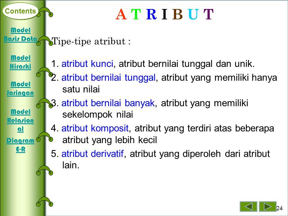 Contents Deklarasi Array Dimensi Satu Array Dimensi Dua Array Dimensi Tiga 24 Contents A T R I B U T Tipe-tipe atribut : 1. atribut kunci, atribut ber