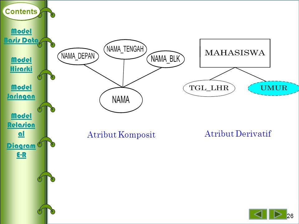 Contents Deklarasi Array Dimensi Satu Array Dimensi Dua Array Dimensi Tiga 26 Contents Atribut Komposit Atribut Derivatif Model Basis Data Model Hirar