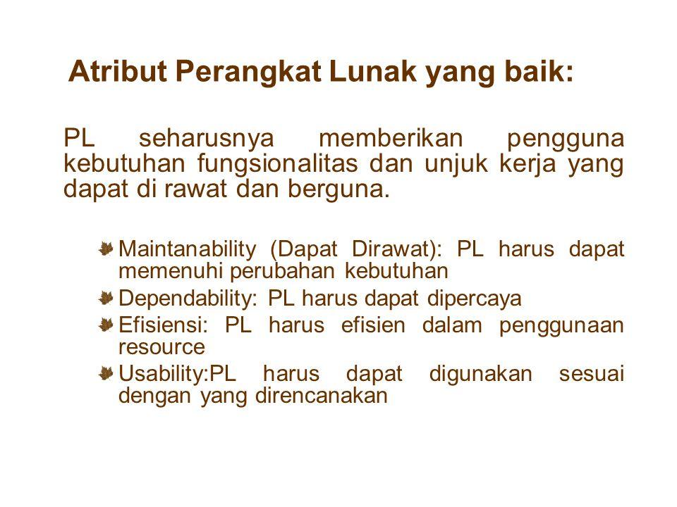 Atribut Perangkat Lunak yang baik: PL seharusnya memberikan pengguna kebutuhan fungsionalitas dan unjuk kerja yang dapat di rawat dan berguna. Maintan