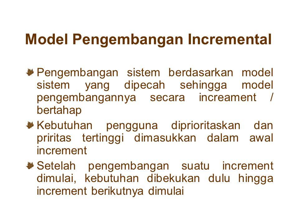 Model Pengembangan Incremental Pengembangan sistem berdasarkan model sistem yang dipecah sehingga model pengembangannya secara increament / bertahap K
