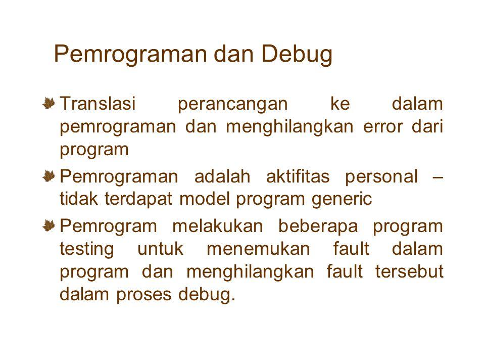Pemrograman dan Debug Translasi perancangan ke dalam pemrograman dan menghilangkan error dari program Pemrograman adalah aktifitas personal – tidak te