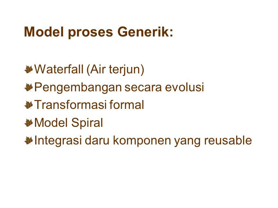 Permasalahan dalam model pengembangan yang berevolusi : Kekurangan visibilitas proses Model sistem biasanya tidak terstruktur Membutuhkan kemampuan khusus (mis.: bahasa pemrograman untuk rapid prototyping).