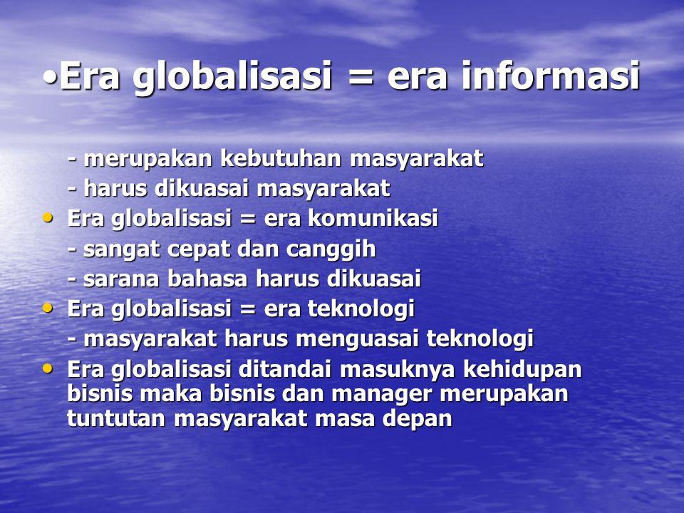 Era globalisasi = era informasiEra globalisasi = era informasi - merupakan kebutuhan masyarakat - harus dikuasai masyarakat Era globalisasi = era komu