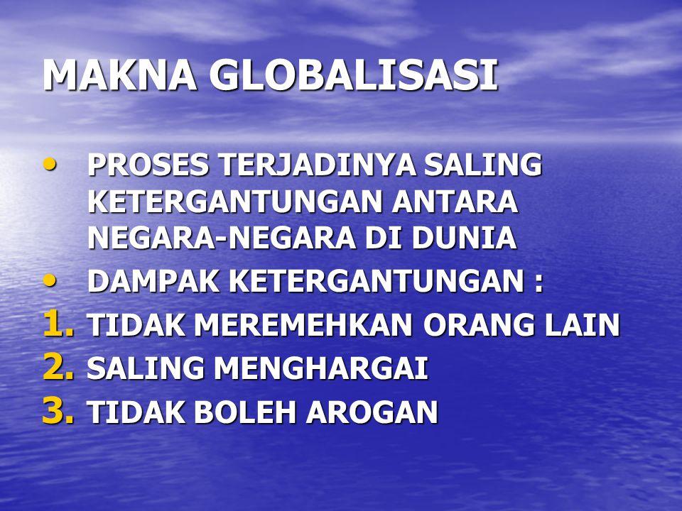 MAKNA GLOBALISASI PROSES TERJADINYA SALING KETERGANTUNGAN ANTARA NEGARA-NEGARA DI DUNIA PROSES TERJADINYA SALING KETERGANTUNGAN ANTARA NEGARA-NEGARA D