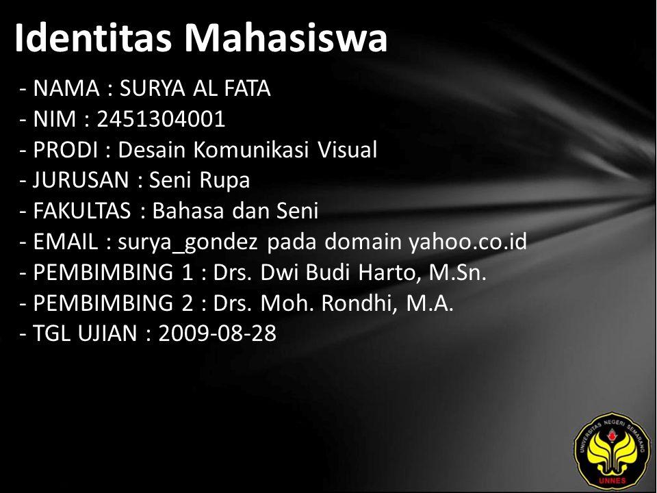 Identitas Mahasiswa - NAMA : SURYA AL FATA - NIM : 2451304001 - PRODI : Desain Komunikasi Visual - JURUSAN : Seni Rupa - FAKULTAS : Bahasa dan Seni -