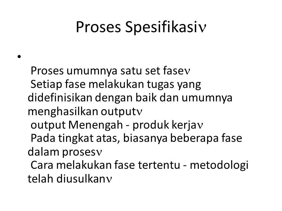 Proses Spesifikasi Proses umumnya satu set fase Setiap fase melakukan tugas yang didefinisikan dengan baik dan umumnya menghasilkan output output Menengah - produk kerja Pada tingkat atas, biasanya beberapa fase dalam proses Cara melakukan fase tertentu - metodologi telah diusulkan