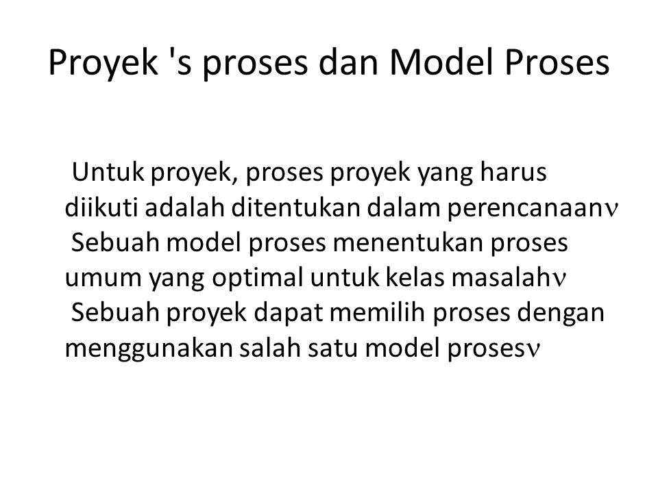 Proyek s proses dan Model Proses Untuk proyek, proses proyek yang harus diikuti adalah ditentukan dalam perencanaan Sebuah model proses menentukan proses umum yang optimal untuk kelas masalah Sebuah proyek dapat memilih proses dengan menggunakan salah satu model proses