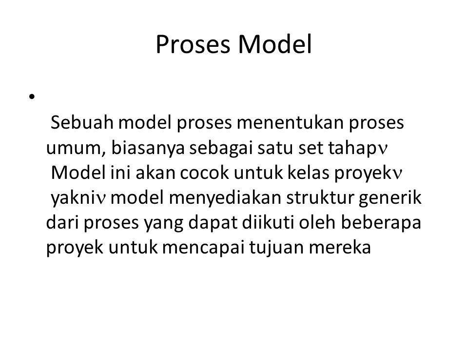 Proses Model Sebuah model proses menentukan proses umum, biasanya sebagai satu set tahap Model ini akan cocok untuk kelas proyek yakni model menyediakan struktur generik dari proses yang dapat diikuti oleh beberapa proyek untuk mencapai tujuan mereka