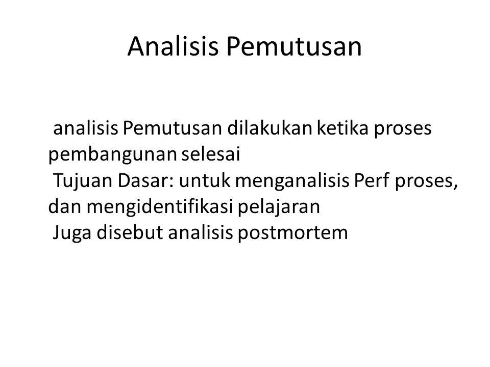 Analisis Pemutusan analisis Pemutusan dilakukan ketika proses pembangunan selesai Tujuan Dasar: untuk menganalisis Perf proses, dan mengidentifikasi pelajaran Juga disebut analisis postmortem