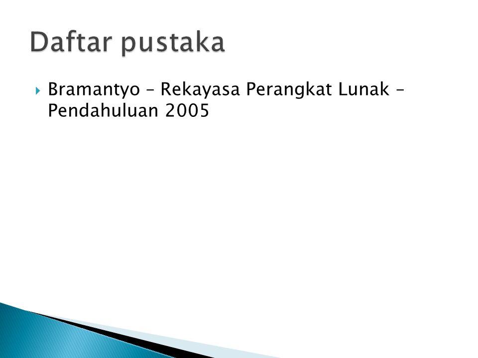  Bramantyo – Rekayasa Perangkat Lunak – Pendahuluan 2005