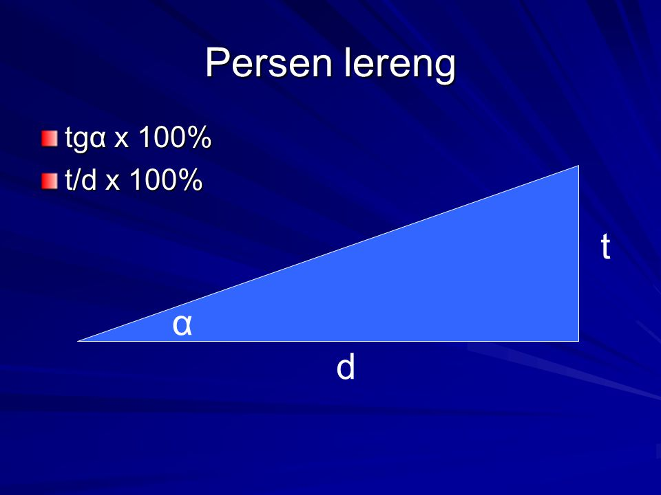 Kelas lereng (ITC, 1985) derajat% Karakteristik proses Aplikasi budidaya 0 - 2 Datar atau hampir datar.