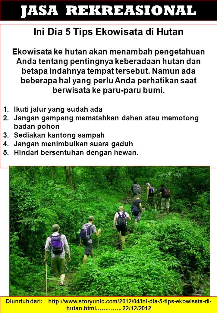 JASA REKREASIONAL Ini Dia 5 Tips Ekowisata di Hutan Ekowisata ke hutan akan menambah pengetahuan Anda tentang pentingnya keberadaan hutan dan betapa indahnya tempat tersebut.
