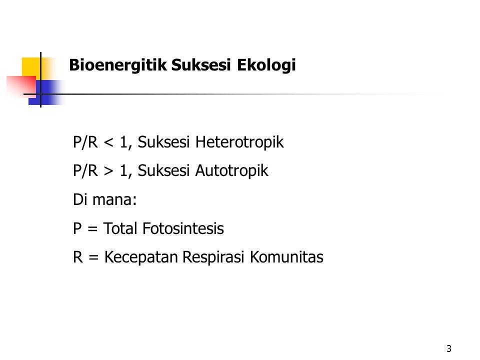 3 Bioenergitik Suksesi Ekologi P/R < 1, Suksesi Heterotropik P/R > 1, Suksesi Autotropik Di mana: P = Total Fotosintesis R = Kecepatan Respirasi Komunitas