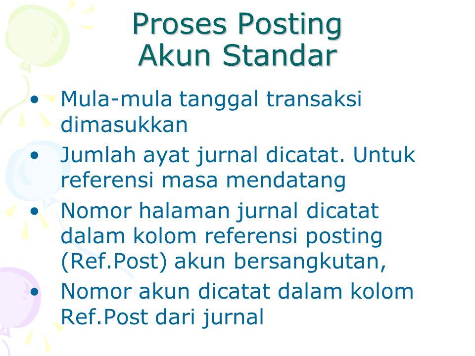 Proses Posting Akun Standar Mula-mula tanggal transaksi dimasukkan Jumlah ayat jurnal dicatat. Untuk referensi masa mendatang Nomor halaman jurnal dic