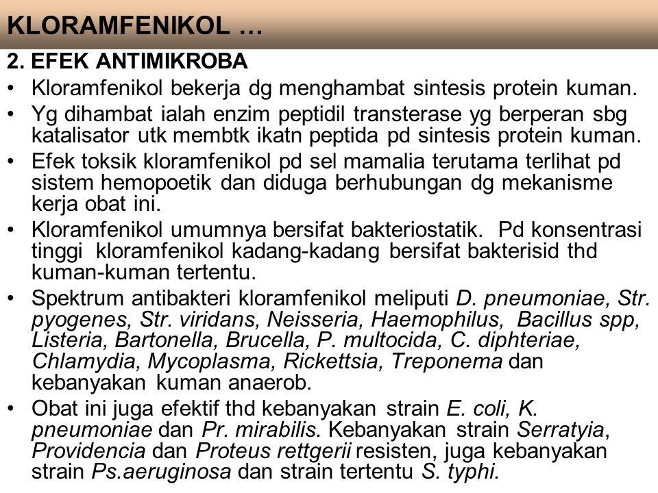 2. EFEK ANTIMIKROBA Kloramfenikol bekerja dg menghambat sintesis protein kuman. Yg dihambat ialah enzim peptidil transterase yg berperan sbg katalisat