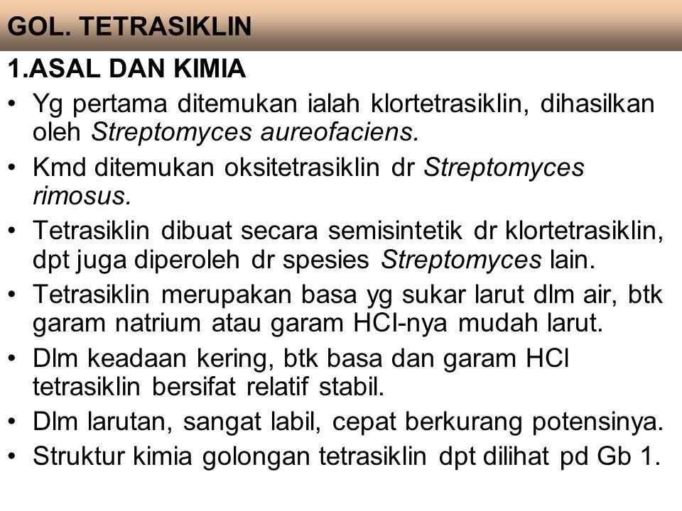 1.ASAL DAN KIMIA Yg pertama ditemukan ialah klortetrasiklin, dihasilkan oleh Streptomyces aureofaciens. Kmd ditemukan oksitetrasiklin dr Streptomyces
