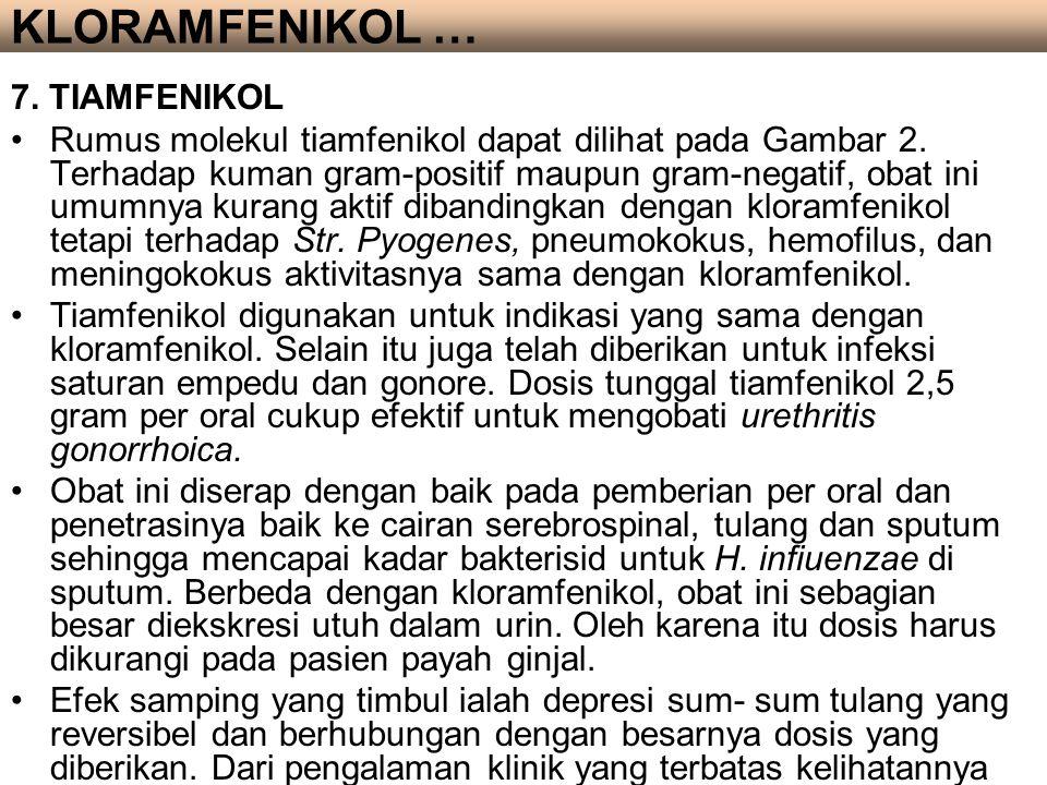 7. TIAMFENIKOL Rumus molekul tiamfenikol dapat dilihat pada Gambar 2. Terhadap kuman gram-positif maupun gram-negatif, obat ini umumnya kurang aktif d