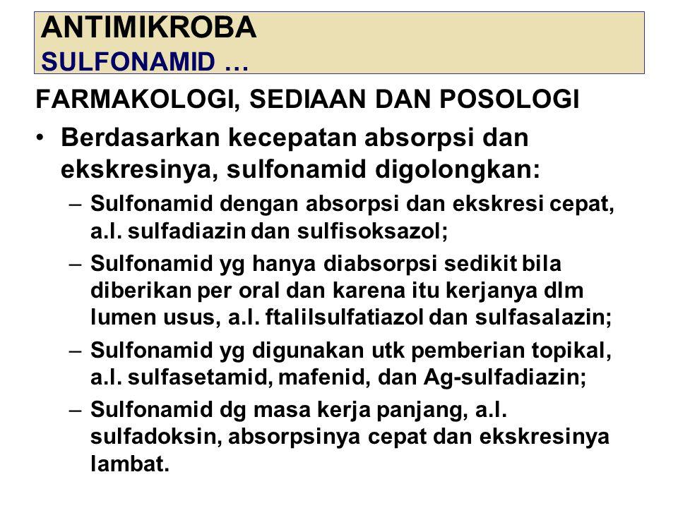 ANTIMIKROBA SULFONAMID … FARMAKOLOGI, SEDIAAN DAN POSOLOGI Berdasarkan kecepatan absorpsi dan ekskresinya, sulfonamid digolongkan: –Sulfonamid dengan
