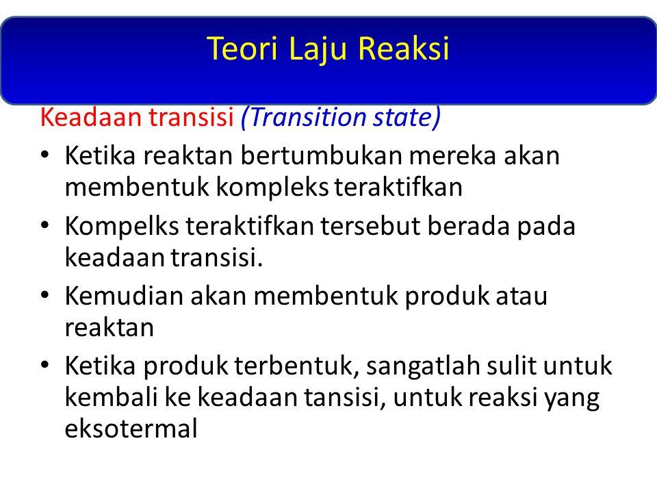 Keadaan transisi (Transition state) Ketika reaktan bertumbukan mereka akan membentuk kompleks teraktifkan Kompelks teraktifkan tersebut berada pada keadaan transisi.