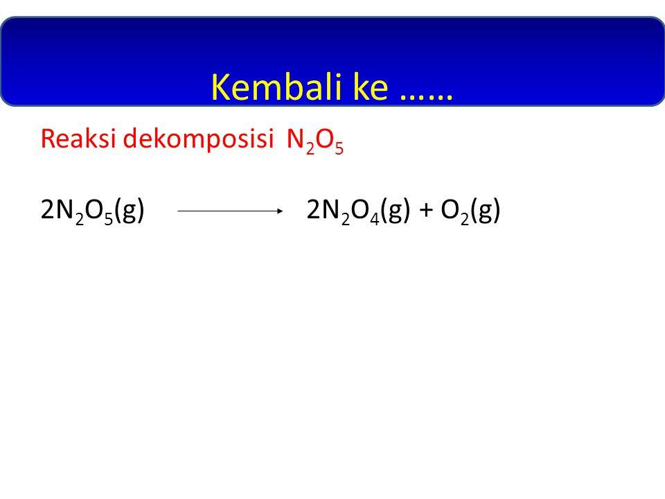 Kembali ke …… Reaksi dekomposisi N 2 O 5 2N 2 O 5 (g)2N 2 O 4 (g) + O 2 (g)