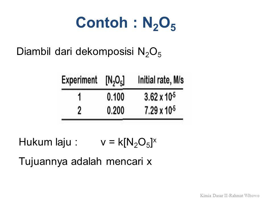 Kimia Dasar II-Rahmat Wibowo Contoh : N 2 O 5 Diambil dari dekomposisi N 2 O 5 Hukum laju : v = k[N 2 O 5 ] x Tujuannya adalah mencari x