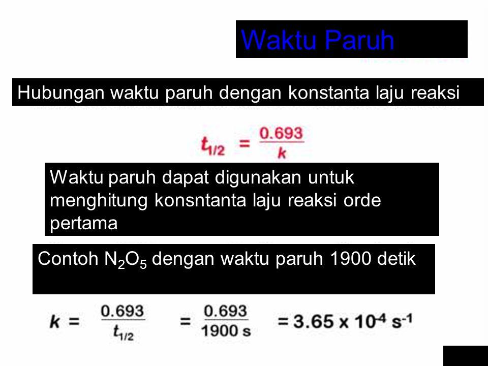 Waktu Paruh Hubungan waktu paruh dengan konstanta laju reaksi Waktu paruh dapat digunakan untuk menghitung konsntanta laju reaksi orde pertama Contoh N 2 O 5 dengan waktu paruh 1900 detik