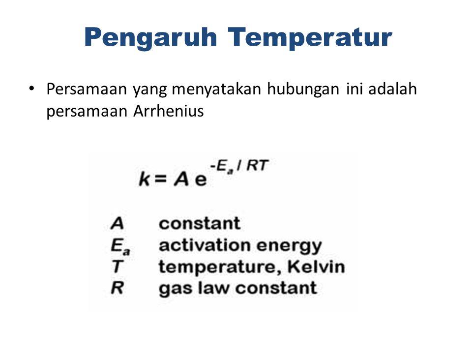 Persamaan yang menyatakan hubungan ini adalah persamaan Arrhenius Pengaruh Temperatur