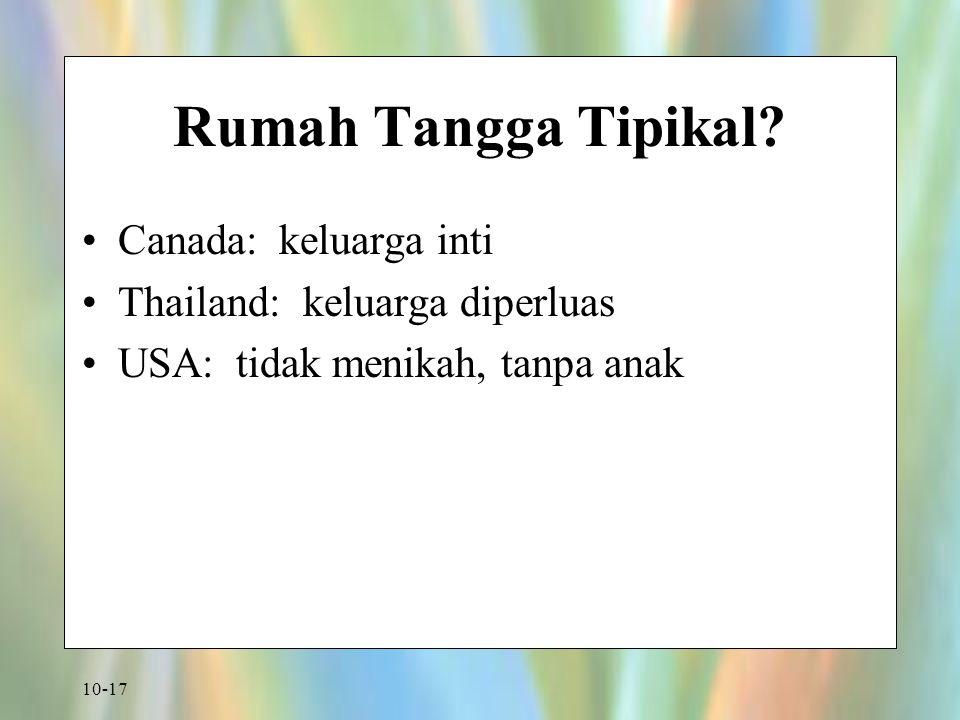 10-17 Rumah Tangga Tipikal? Canada: keluarga inti Thailand: keluarga diperluas USA: tidak menikah, tanpa anak